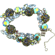 D&E Juliana 5 link Bracelet with rhinestones and unusual splatter glass cabochons