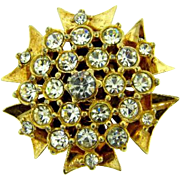 Vintage gold tone Brooch with crystal rhinestones