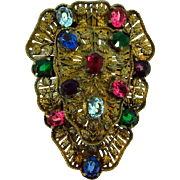 Large 1940's Dress Clip with multicolored glass stones