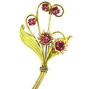 Signed Harry Iskin gold filled floral design Brooch with pin rhinestones