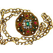Heavy bejeweled Renaissance pendant necklace with thick link gold tone chain