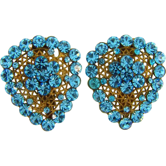 Vintage 1940's Dress Clips with bright blue rhinestones