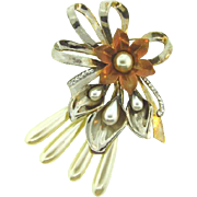 1940's massive Corsage Brooch with imitation pearls and crystal rhinestones