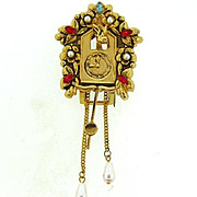 Signed Pegasus Coro Cuckoo Clock Fur Clip with imitation pearls and rhinestones