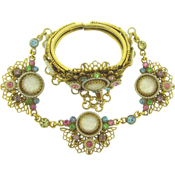 Signed Selro clamper Bracelet and choker Necklace with multicolored rhinestones and imitation pearls