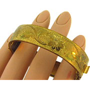 Vintage gold filled floral embossed Bangle with safety chain