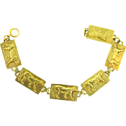 Egyptian themed Link Bracelet with raised tigers