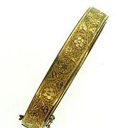 Vintage bangle Bracelet gold filled with embossed floral design