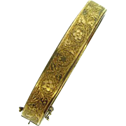 Vintage bangle Bracelet gold filled with embossed floral design