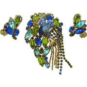 Beautiful D&E Juliana rhinestone brooch and clip on earrings in blue and green tones
