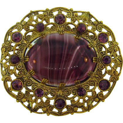 Made in Germany vintage filigree Brooch with purple stones