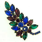 Beautiful fall colors leaf design rhinestone Brooch
