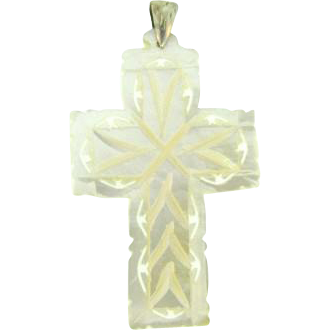 Large carved Mother of Pearl Cross pendant