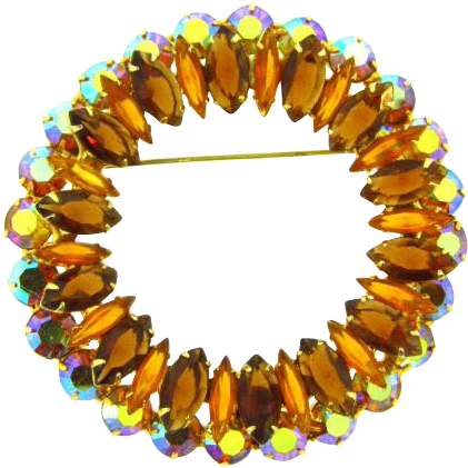 Very large rhinestone Scarf Brooch in fall shades