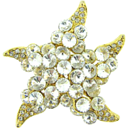 Vintage starfish Brooch with crystal rivoli rhinestones