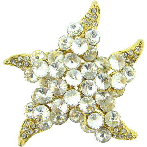 Vintage starfish Brooch with crystal rivoli rhinestones