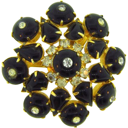 Raised vintage 1950's Brooch with black cabochons and crystal rhinestones