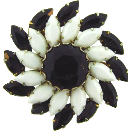 Vintage 1950's black and white pinwheel Brooch