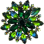 Vintage 1960's rhinestone Brooch in shades of green and blue