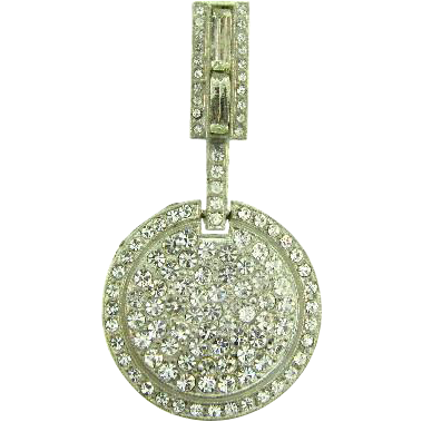 Signed WMCA Art Deco two part Brooch with crystal rhinestones