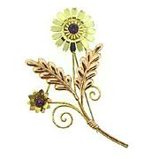 Signed Van Dell 1/20 12 kt gf on sterling floral Brooch