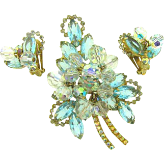 D&E Juliana leaf shaped rhinestone Brooch and clip on Earrings with center crystal beads