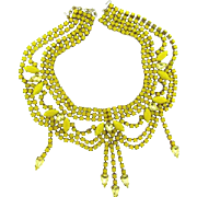 Signed Bijoux MG runway festoon necklace in shades of yellow stones