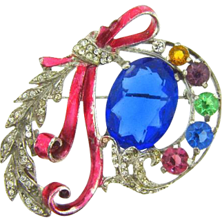 Large 1940's corsage designed Brooch with rhinestones