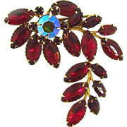 1960's floral red rhinestone Brooch