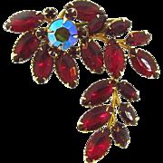 1960's floral red rhinestone Brooch