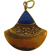 Vintage Egyptian themed pendant with Lapis Lazuli stone