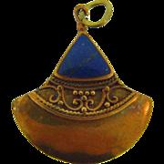 Vintage Egyptian themed pendant with Lapis Lazuli stone