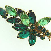 1960's green rhinestone Brooch