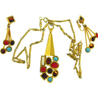 Signed Capri abstract pendant Necklace and matching clip on Earrings