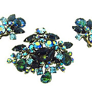 Signed Beau Jewels floral design rhinestone Brooch and Clip on Earrings