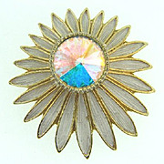 Signed Emmons floral Brooch with AB rivoli rhinestone