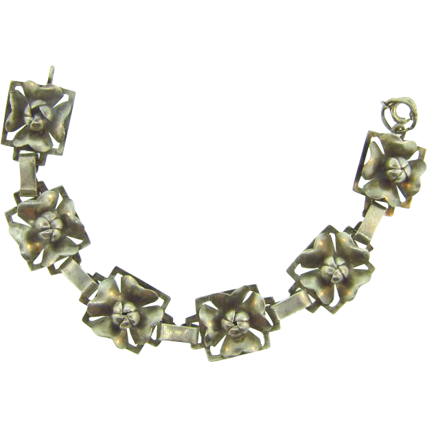Marked sterling floral link Bracelet