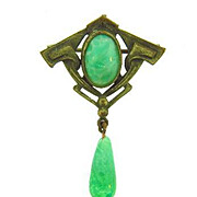 Art Nouveau 1920's Watch Pin with mottled green glass stones