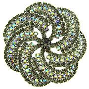 Large pinwheel rhinestone Brooch with AB and smokey gray stones