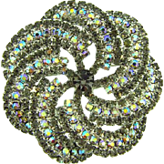 Large pinwheel rhinestone Brooch with AB and smokey gray stones