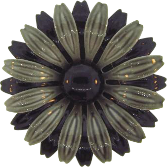1960's flower Brooch in fall shades of gray and black enamel
