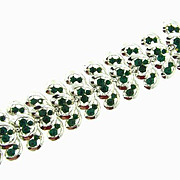 Vintage 1960's wide silver tone link Bracelet with emerald green rhinestones