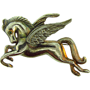 Vintage large pot metal figural Pegasus Brooch