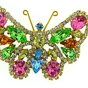 Large vintage 1960's rhinestone Butterfly Brooch