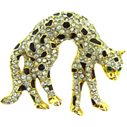 Vintage rhinestone Leopard Brooch