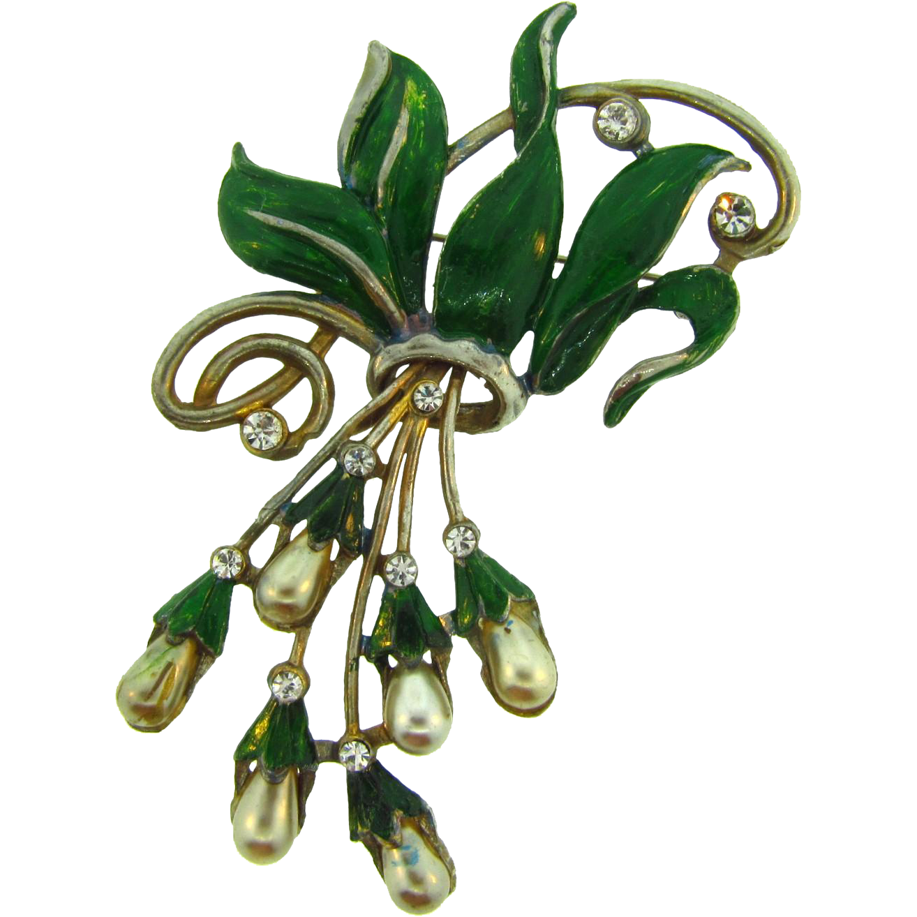 Large 1940's pot metal floral spray Brooch