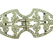 1940's white metal Belt Buckle with crystal rhinestones