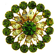 Made in Austrian vintage 1950's rhinestone brooch in a circular raised design