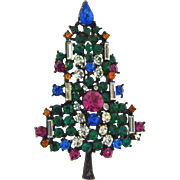 Vintage Christmas tree Brooch with multicolored rhinestones and six candles