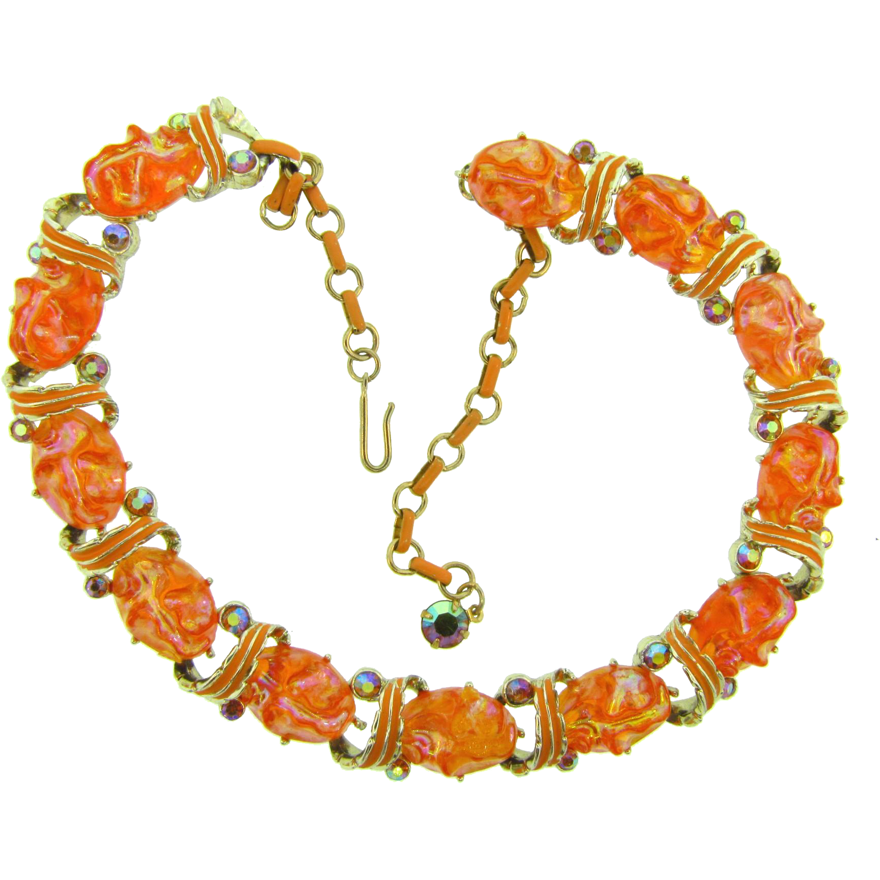 Vintage choker link Necklace with orange thermoset pieces and AB rhinestones